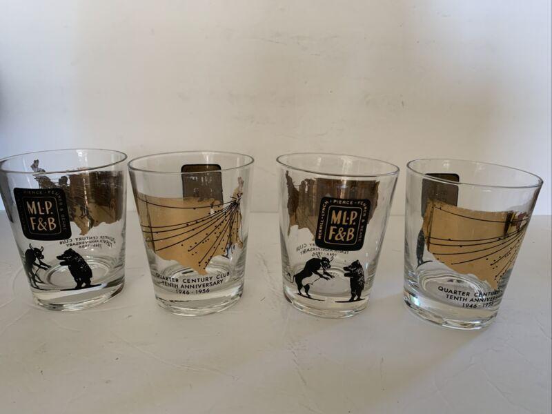 RARE! MERRILL LYNCH PIERCE FENNER 10 Anniversary BULL & BEAR 4 Rocks Glasses