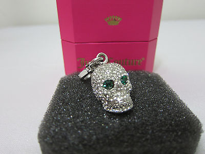 NEW IN BOX RARE Juicy Couture 3D PAVE SKULL GREEN EYES HALLOWEEN BRACELET CHARM (Juicy Couture Box Bracelets)