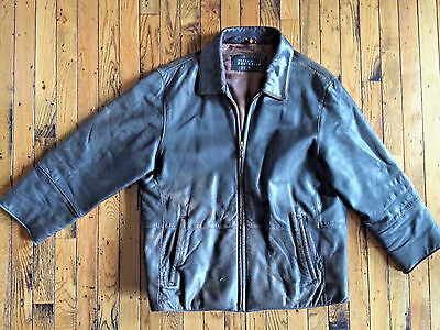 Perry Ellis Leather flight/bomber Light Brown Distressed Jacket size M bx23