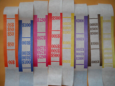 25 Usa Currency Straps 1 5 10 20 50 100 Any Mix Self Sealing Money Bands