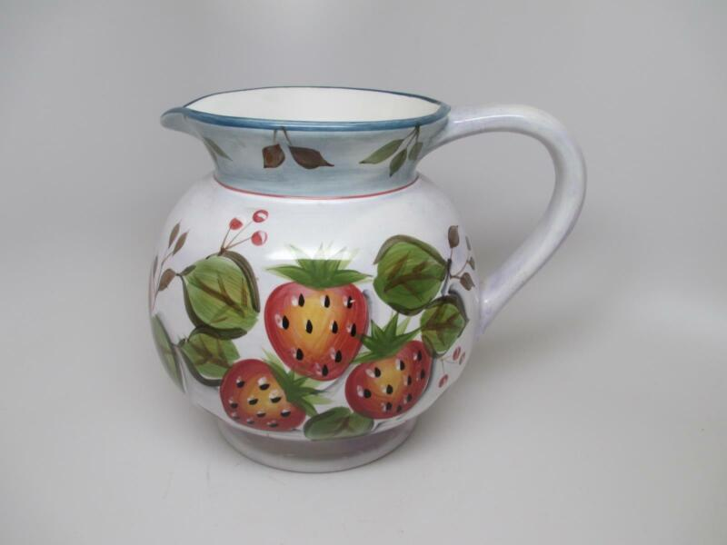 """Black Forest Fruits 8"""" 3 Qt Ceramic Pottery Strawberry Apple Plum WATER PITCHER"""