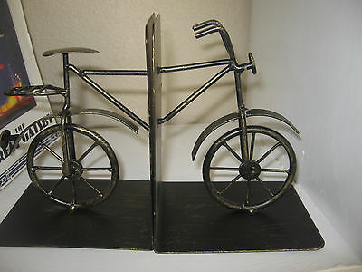New Bike Book Ends Black Gold Rustic Bicycle Library Set Bookends metal Cyclist