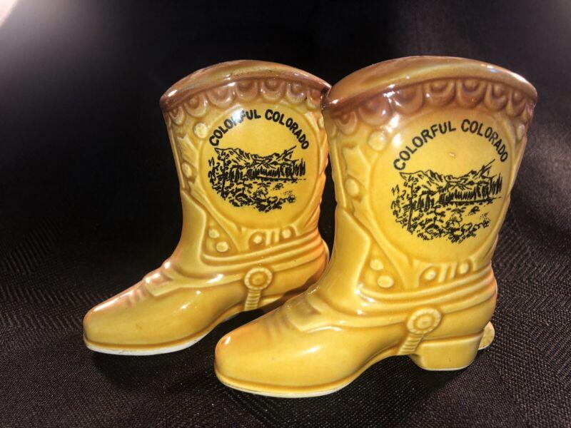 Souvenir Cowboy Boot Salt & Pepper Shakers-Colorado