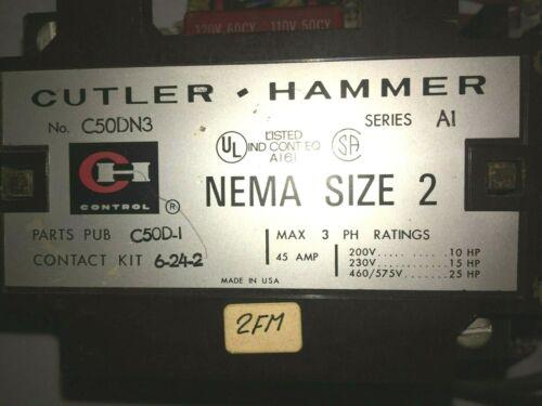 Cutler Hammer Motor Reversing Contactor C50DN3 size 2