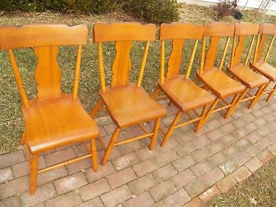 Set Of 6 Plank Seat Chairs Farmhouse Splat Back Rustic Primitive ()