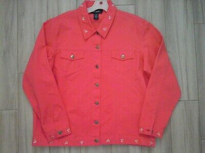 Denim & Co Coral Pink Long Sleeve Embroidered Cotton Pique Jean Jacket   Size (Embroidered Pique Jeans)