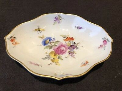 Meissen Floral Bug Rose Trinket Dish 1st Quality Crossed Swords Circa 1800s