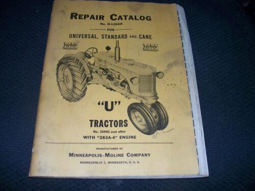 Original Minneapolis-Moline U Tractor Parts Manual Standard Cane Universal
