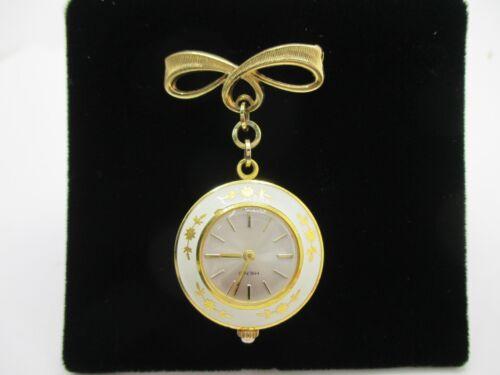 Vintage Watch Swiss Made Heno Pendant White Enamel Chatelaine Nurses BEAUTIFUL