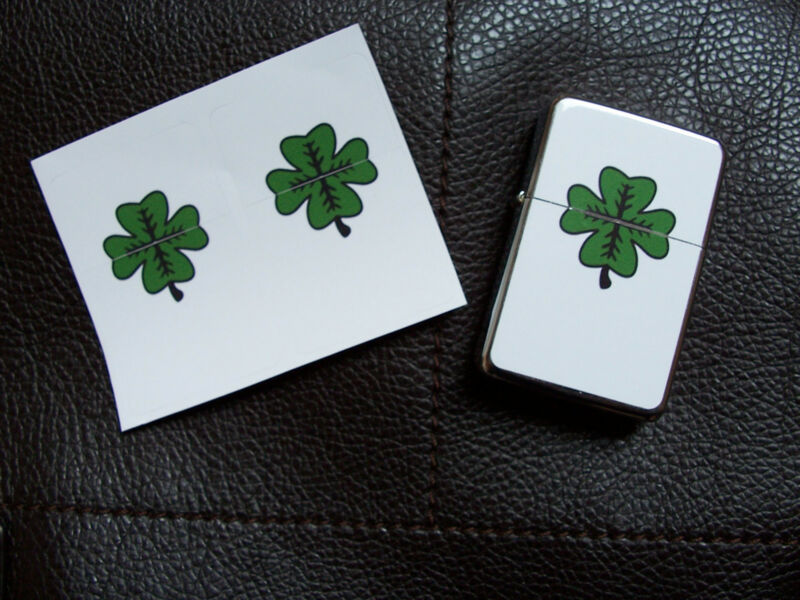 Indiana Jones Elsa Lucky Shamrock TWO STICKERS Decals for Lighter Clover Crusade