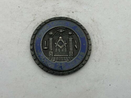 Antique Sterling Silver Masonic Grand Lodge Ohio 25 Yrs Mason Lapel Pin Vtg   B4
