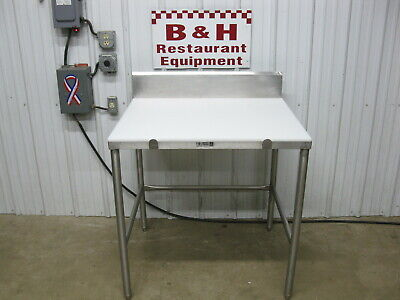36 Stainless Steel Butcher Cutting Board Poly Top Roll Under Table 3 X 30