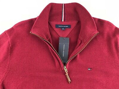 NEW Tommy Hilfiger Men XL Maroon Red 1/4 Zip Long Sleeve Sweater Pullover Logo Q
