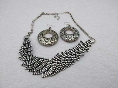 """Vintage~~Silver Tone Hinged Style 20"""" Necklace w/ Scrolled 2.5"""" Puffy Earrings"""