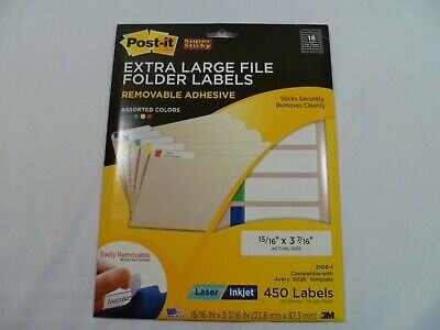 Post-it Extra Large File Folder Labels 1516 X 3-716 2100-i 450 Count