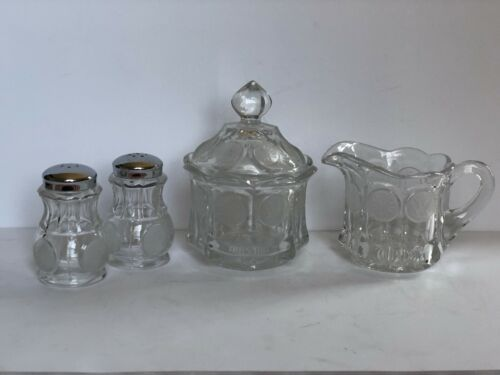 Fostoria Coin Crystal Glass Sugar Bowl, Creamer, Salt and Pepper Shakers, Clear