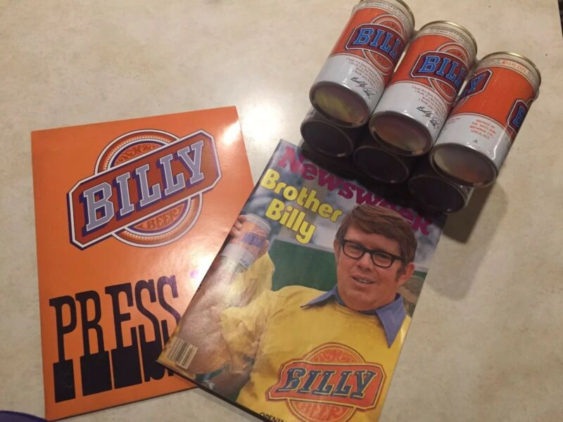 Billy Beer Memorabilia - includes press kit and beer cans