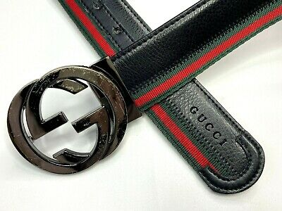 GUCCI VINTAGE CHERIE WEB GG CHROME BUCKLE EMBOSSED BELT MEN LEATHER LOGO ITALY