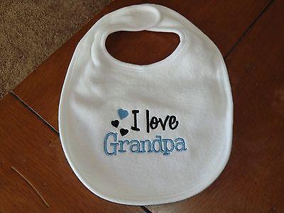 Love Baby Bib (Embroidered Baby Bib - I Love Grandpa -)