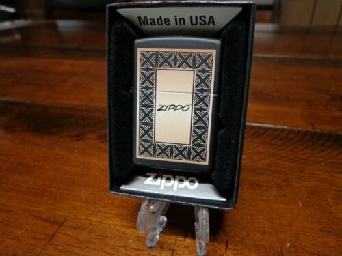 ZIPPO ART DECO DESIGN BLACK MATTE ZIPPO LIGHTER MINT IN BOX