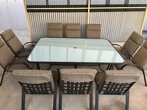 11 piece outdoor white frosted glass dining table & chairs Largs Bay Port Adelaide Area Preview