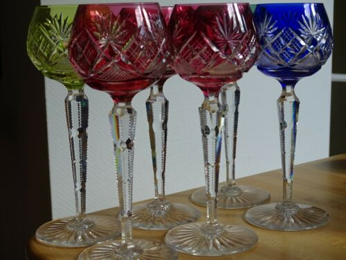 SIX VINTAGE ROEMER WINE GLASS CRYSTAL VAL ST LAMBERT COLORS FLOREAL