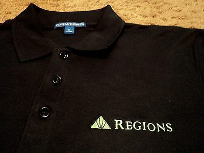 New Mens Regions Bank Embroidered Uniform Polo Shirt Size Medium Black Nwot