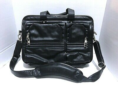 Samsonite Black Leather Business Expandable Laptop Bag Soft Briefcase Portfolio