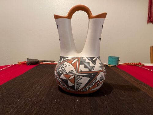 "Traditional ACOMA PUEBLO Polychrome Pottery Wedding Vase by S. Garcia 13"" x 8"""