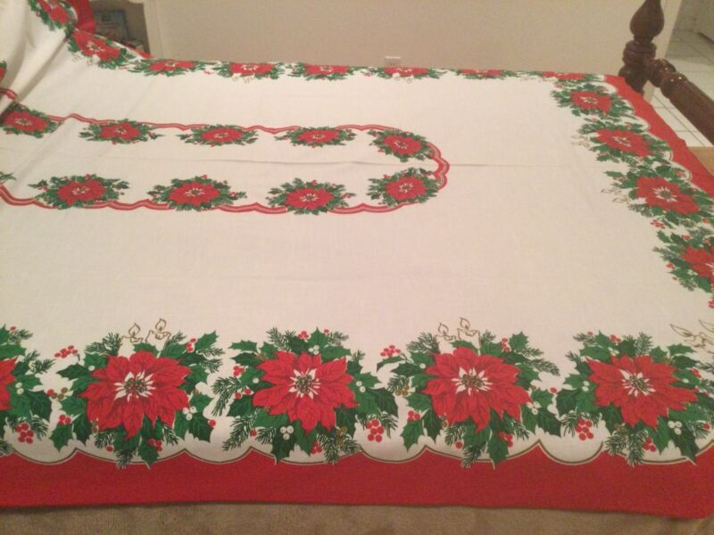 Sunweave Linen Collection Christmas Poinsettia Tablecloth 103 x 62 Brazil EUC