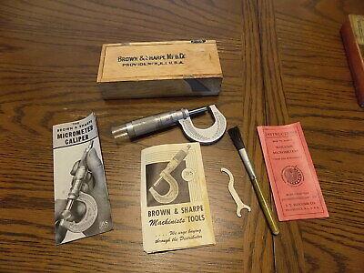 Vintage Brown Sharpe Mfg. Co. Micrometer Caliper No. 13 With Wood Box