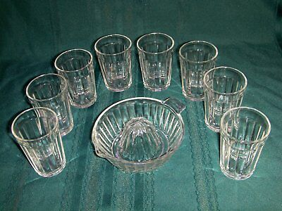 Anchor Hocking Juice Reamer Plus Eight Clear Crystal Pillar Optic Juice Glasses