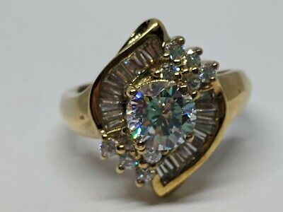 Sz 7 Sterling Silver Vermeil Gold Accented Cocktail Ring Clear Stone Cluster 925 Gemstone Cluster Cocktail Ring