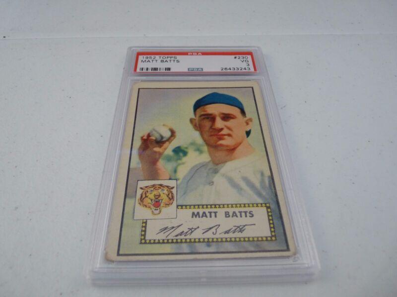 Matt Batts 1952 Topps #230 Baseball Card PSA Graded Slabbed VG Very Good 3