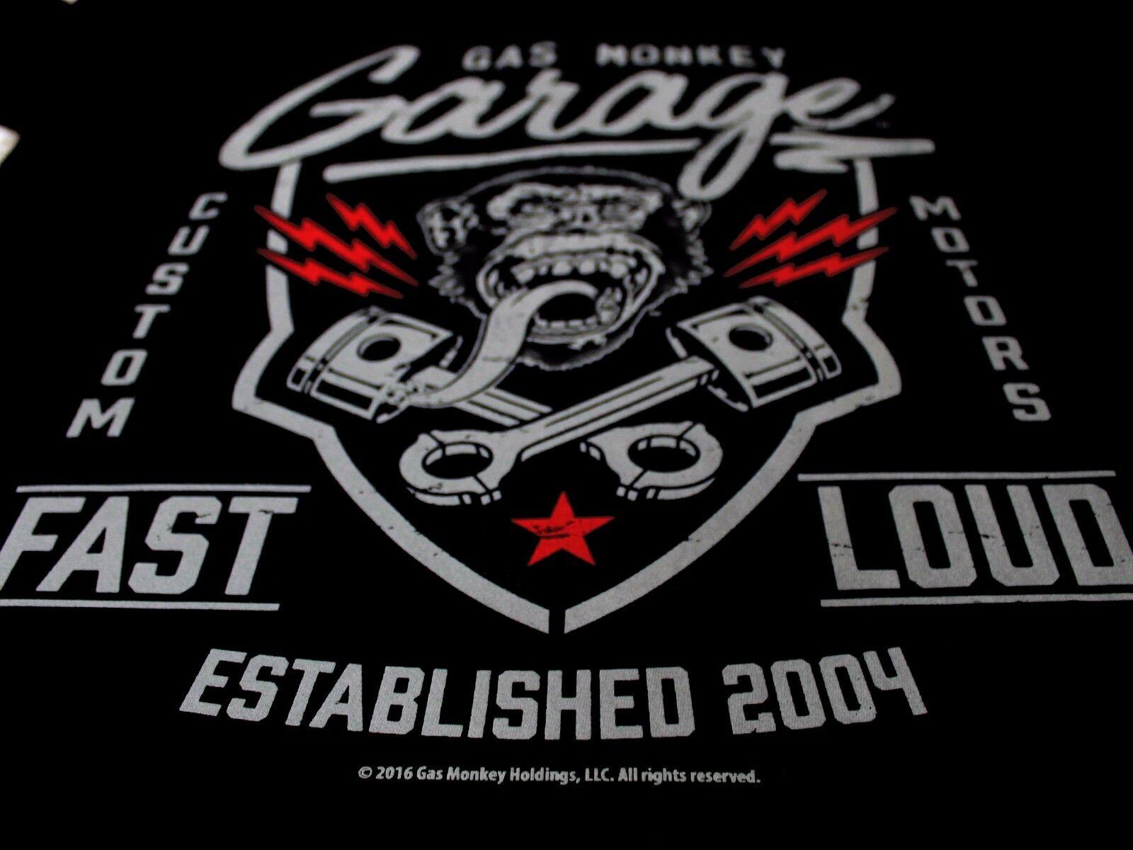 36466c7c588 Gas Monkey Garage Pistons Custom Motors Beers Fast N Loud Black Mens Tshirt