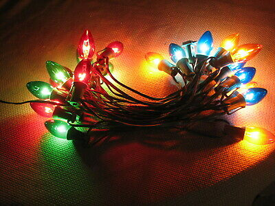 Vintage C9 Christmas Lights Indoor/Outdoor Multi-colored (Lot of 2 Strings)