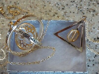 Rotating Gold Deathly Hollows & Time Turner  Harry Potter necklaces free shiping