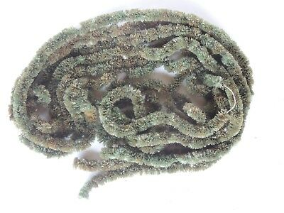 Old Christmas Garland chenille 19 FT green feather tree roping