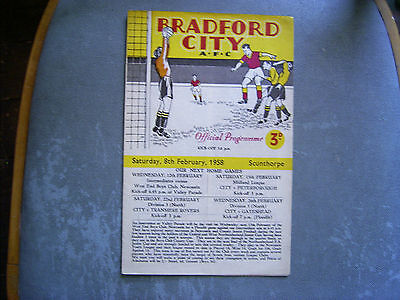 BRADFORD CITY V SCUNTHORPE UNITED FL Div 3 North 1957-58