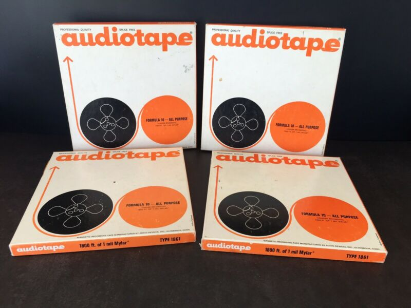 """Audiotape Magnetic Recording Tape 7"""" Reel to Reel 1800 FT Lot of 4 USED"""