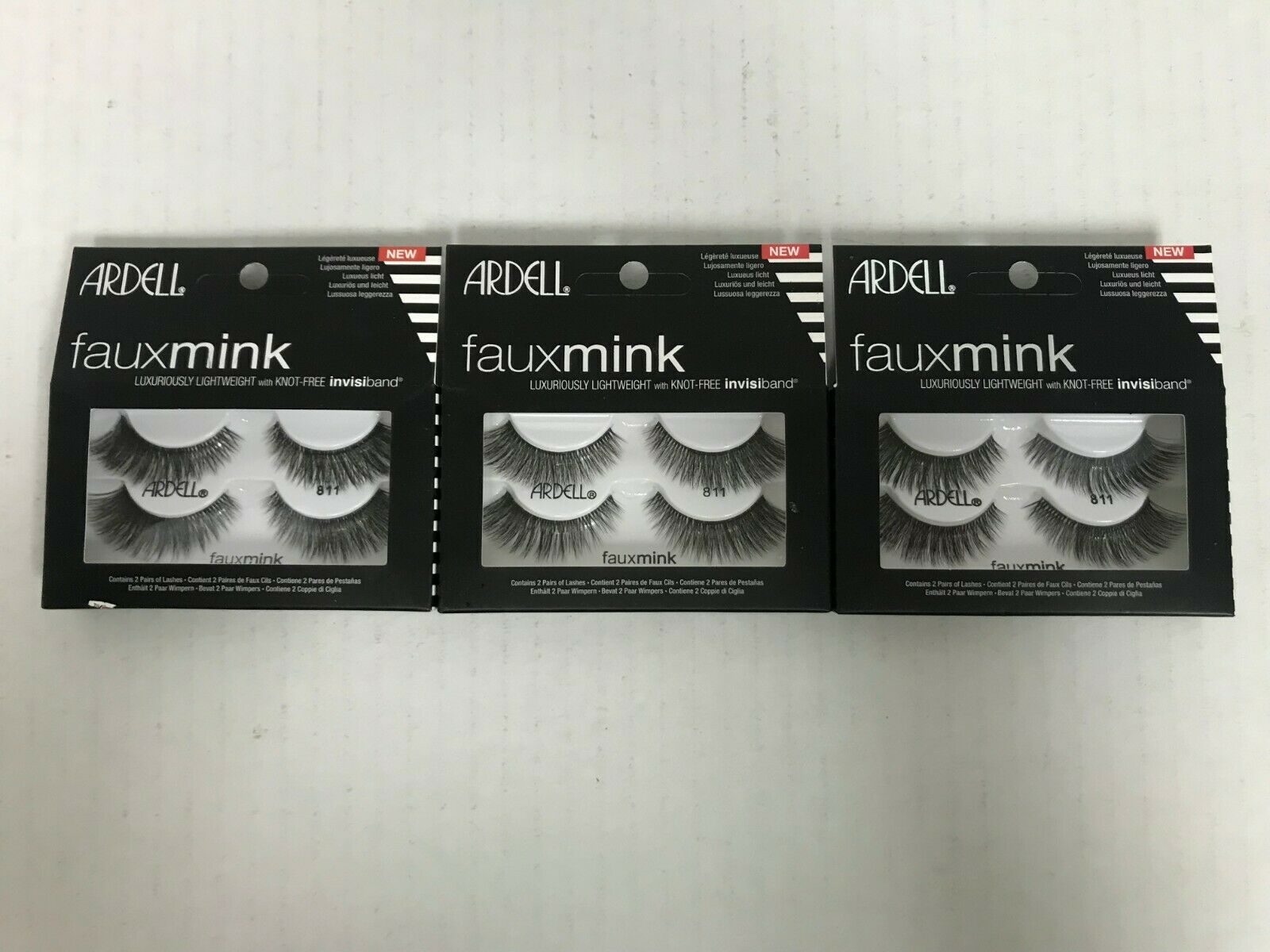 6 PAIRS ARDELL FAUX MINK EYELASHES - STYLE 811 BLACK STRIP L