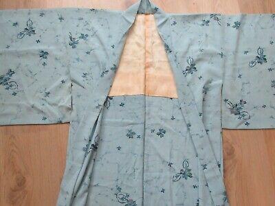 Vintage beautiful light blue Japanese Haori Kimono