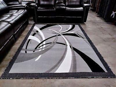 5x8 - RUGS - AREA RUGS - CARPET FLOORING- RUG-GREY BLACK WHITE - MODERN - NEW
