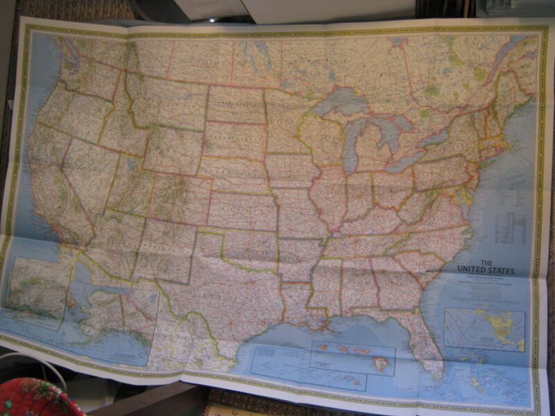 HUGE VINTAGE UNITED STATES MAP + PHOTOMOSAIC MAP National Geographic 1976 MINT