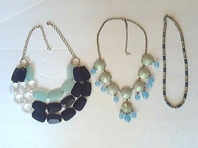 bulky blue + clear plastic bead necklace 3 strands, statement, silvertone chain