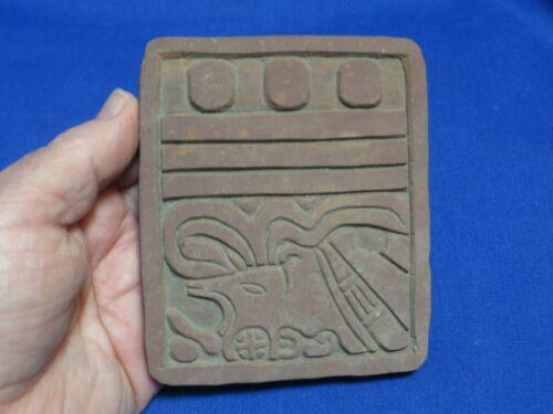 Vintage Clay Stone Slab of Mayan 13th Ruler from Copan Ruinas Honduras 4.5 Inch