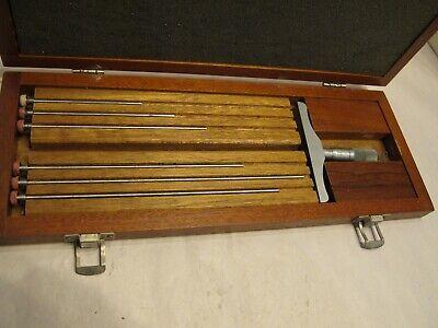 Brown Sharpe 608 Depth Micrometer 0-6 Range. .001 Graduation In Fitted Case