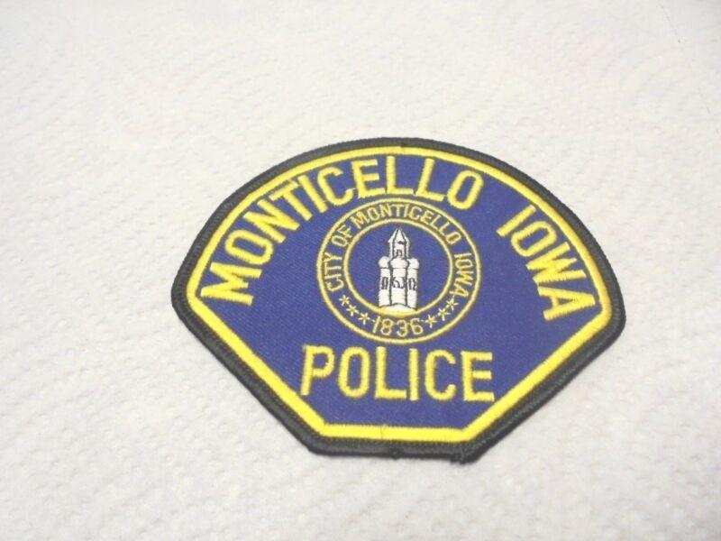 vintage cloth shoulder patch police monticello iowa