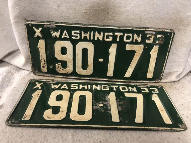 Vintage 1933 Washington License Plate Pair
