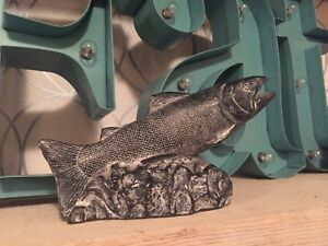 """A WOLF ORIGINAL"" ~ SALMON ~ SOAPSTONE FISH SCULPTURE ~"